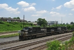 NS 9724 leads a pig train through Howell Tower