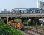 Loaded coal train heads under the maze of bridges on its way to Plant Scherer