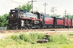 Westbound excursion slows for river crossing