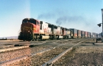 Santa Fe SD75M #248 leads a westbound doublestack