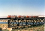 Santa Fe C44-9W #655 (with C40-8W #807, B40-8W #547 & GP60M #125) leads a westbound over the Colorado River