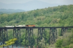 BNSF 5495 leads intermodal across James River Trestle northbound