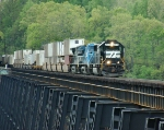 NS 2578 leads intermodal across James River Trestle out of Lynchburg