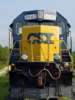 CSX SD50-3 #8582, delivered in the Chessie System scheme as B&O 8582, tied down in the Storage Track