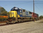 CSX SD50 #8593 and HLCX SD40M-3 #6516, tied down after use as local power,