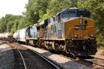 CSX ES44AC #890 and C40-8 #7514, leading Atlanta bound train Q678, tied down at the south end of the siding