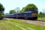 "CSX F40PH-2's #9993 and 9992 lead an Office Car Special northbound on the Dothan Subdivision ""Bow Line"""