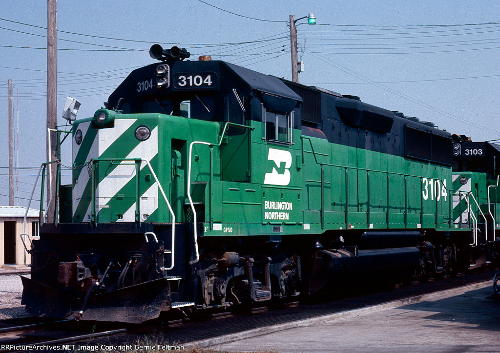 Burlington Northern GP50 #3104, built for the Frisco but delivered post-merger,