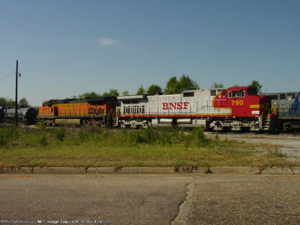 Burlington Northern Santa Fee C44-9W's 790 & 4840 await their next assignment at the CSX Yard Office