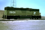 Burlington Northern GP38-2B #2601, built November 1976 as GP38-2,