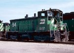 Burlington Northern SW1500 #54 idles in East Thomas Yard