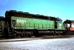 Burlington Northern SD45 #6691, with Frisco heritage paint on the last section of the radiator flares,