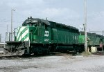 Burlington Northern SD40-2 #8101 and B30-7AB, awaiting fueling in East Thomas Yard,