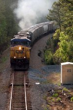CSX AC44CW #156 & SD70MAC #4778 are in full dynamic brake mode as they pass the Talbotton Defect Detector