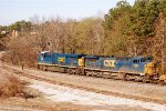 "CSX ES44AC-H #3036 and C40-8W lead northbound intermodal train #Q026-13 away from the Yard Office and to the Lineville Subdivision ""New Way"" connection"