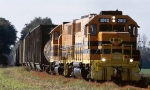 Bay Line GP38's #2012 and 2050 lead Abbeville & Grimes train Z751-01 over the undulating track