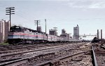 Amtrak F40PHR's 256 and 257 lead New Orleans bound train #19 away from the passenger station to the double track at 13th Street Tower