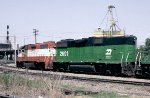 Burlington Northern (former Frisco) units #2339 and 2601 approaching the 27th Street crossing of Louisville & Nashville Railroad