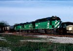 Burlington Northern SD40-2 #7009, B30-7AB #4043 and SD40-2 #7140 lead a grain train