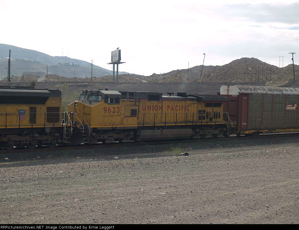 UP 9623 #2 power in a WB autorack at 8:17am