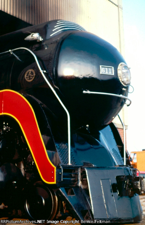Norfolk & Western J-Class #611, lightly steaming just outside the Southern Railway System Norris Yard Steam Shop