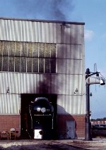 Norfolk & Western J-Class #611 has been pulled out into the open air so the boiler can be fired off for a valve, fitting, gauge, etc. check. At the Southern Railway Norris Yard System Steam Shop