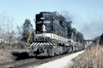 Southern Railway SD35 #3080, leading train 1st #135 with green section flags whipping in the breeze,