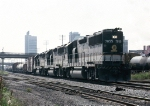 Southern Railway GP50 #7055, with two other GP50's leading an eastbound thru downtown,