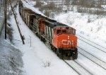CN 9569 and 5060 on an eastbound freight at Lachine