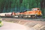 Westbound grain train at dusk