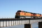 BNSF 5140 crosses Keystone Lake