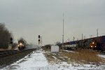 Amtrak 353-22 rushes west on NS as L112 and Q113 meet on CSX