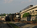 NS 7136 switches the yard while a MARTA train heads for Atlanta above