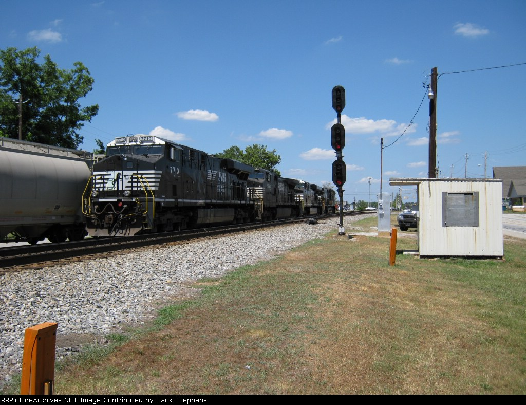 Coal train power sits in the yard at Bremen beside the small phone-booth order office