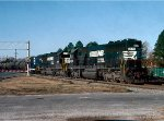 Norfolk Southern SD60's #6570 & 6574, with brand new Florida East Coast GP40-2 #432 trailing, lead a Jacksonville, Florida bound train
