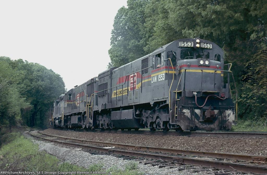L&N U30C #1553, with a U25C and a pair of SD40-2's, leading a Florida bound coal train