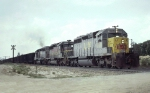 Louisville & Nashville SD40-2's 3560, 8026 & 1277 lead a Crystal River 85-car coal train past Unimin Sand,