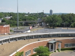 A view to the north and the CHW yard from the top of JMU's parking deck