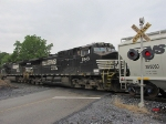 Pusher units on this V92 grain train crossing Buttermilk Creek Rd.