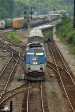 Amtrak moves east out of Cumberland Yard, to head down the Cumberland Subdivision