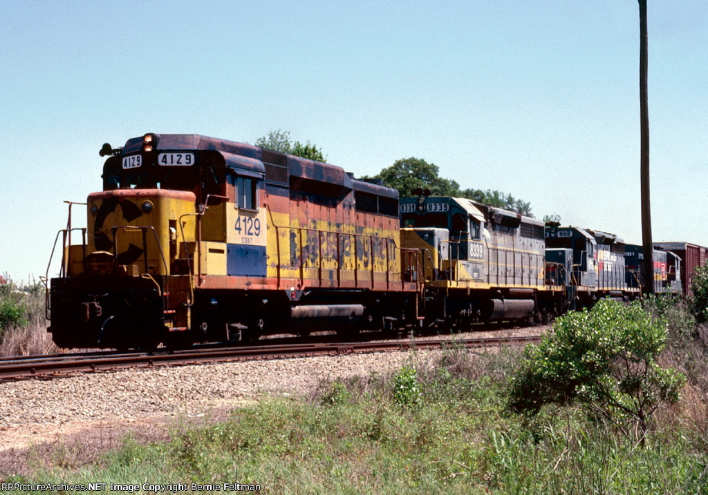 CSX (Baltimore & Ohio) GP30 #4129, (Clinchfield) SD40 #8339, (Seaboard System) SD40-2 #8118 and B23-7 #3110 lead Montgomery bound train #642 away from the yard