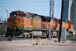 BNSF 4910 & Helpers Move Into The Fuel Track
