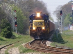 CSXT 5880 leads an empty MoW Train through town
