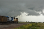 UP 4128 East into a nasty summer storm