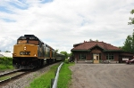 CSX OCS passes the former New York Central Passenger Depot in Canton, NY