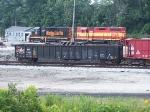 WE 2320 in work train cut carrying bridge parts
