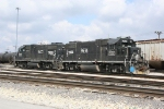2 IC black GP38-2s idle in the CN yard