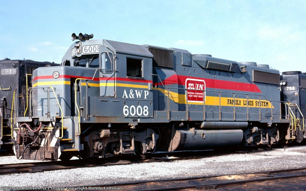 Atlanta & West Point GP38-2 #6008, in the A&WP/Georgia Railroad Hulsey Yard engine terminal