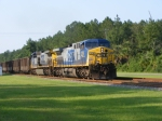 CSXT 378 crawls through town with an empty Florida coal train
