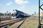 1002-A1-016 American Freedom Train is pulled backwards across Hiawatha Ave to MILW Southtown Yard by Baldwin switcher